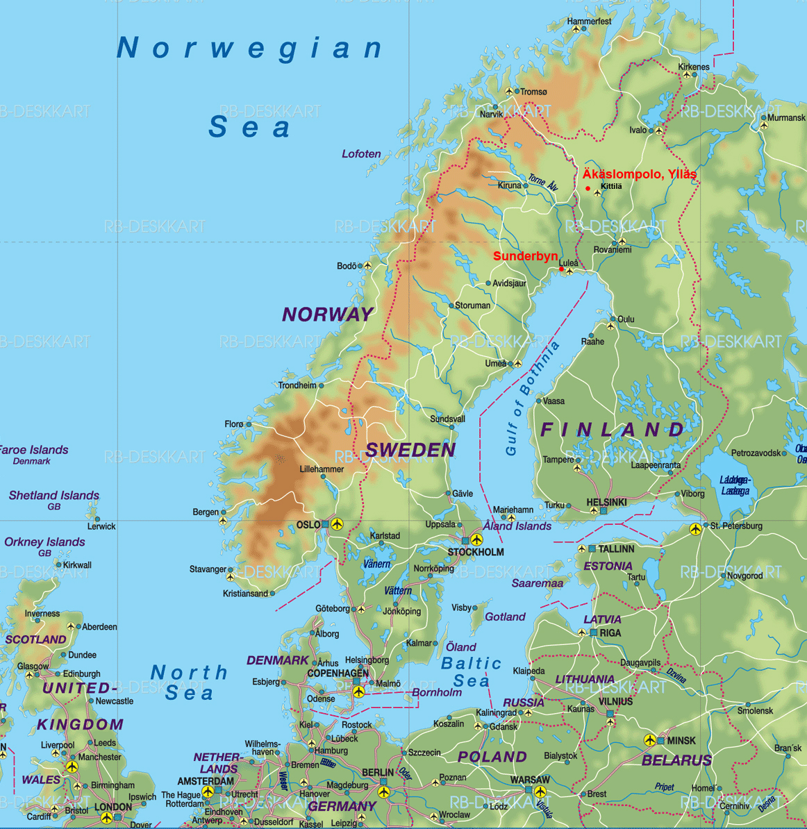 Lapland Sweden Or Finland Sunderbyn Luleå Or Äkäslompolo Ylläs - Sweden lapland map