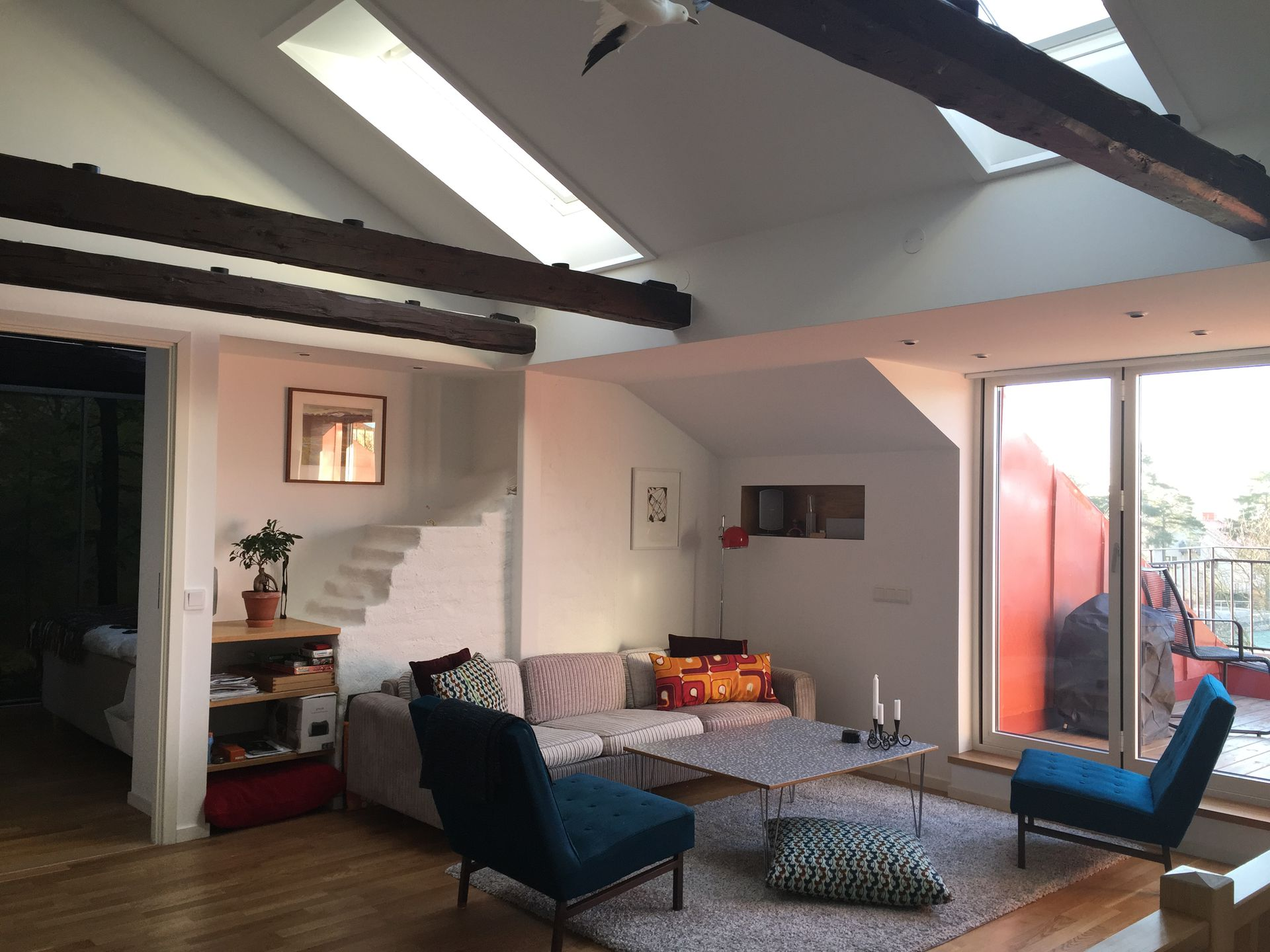 Livingroom on second floor. & Stockholm Sweden. Sunny two floor apartment. 120 square meters ...