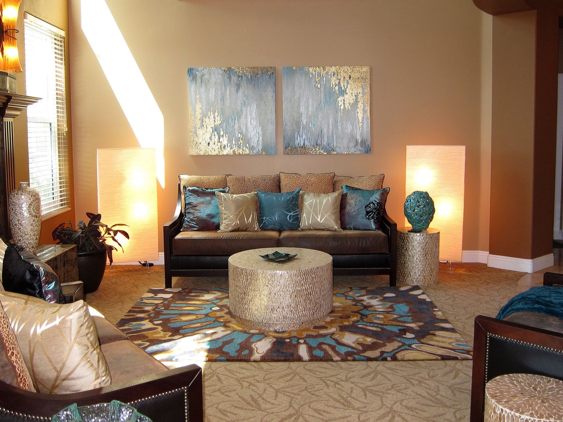 Vibrant Formal Living Room With Attention To Detail.