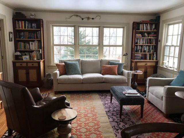 House in October; Living room ... & Small Victorian surrounded by stone walls and gardens in a rural ...